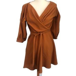 Boohoo Burnt Orange Wrap A Line Dress Long Sleeves